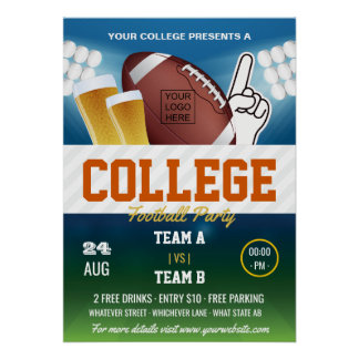 College Football Party change colors and add logo Poster