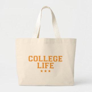 College Life - Orange Large Tote Bag