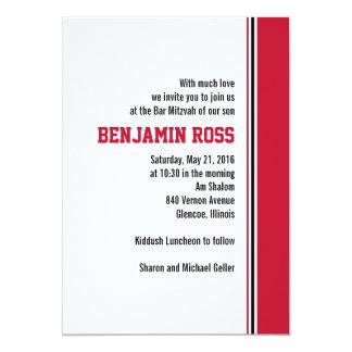 College Stripe Bar Mitzvah Invitation