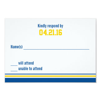 College Stripe Bar Mitzvah Response Card 9 Cm X 13 Cm Invitation Card