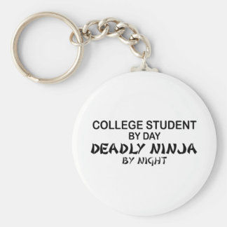 College Student Deadly Ninja by Night Basic Round Button Key Ring