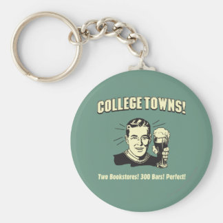 College Towns: 2 Bookstores 300 Bars Key Ring