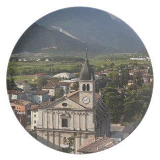 Collegiate church in morning, Arco, Trento Plate