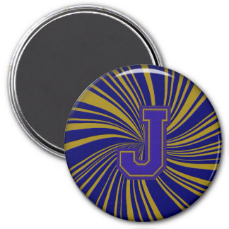 Collegiate Letter Magnet Blue-Gold-J