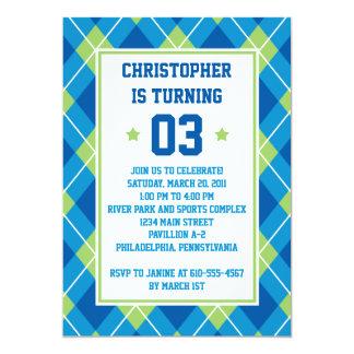 Collegiate Style Blue & Green Argyle 5X7 Birthday 13 Cm X 18 Cm Invitation Card