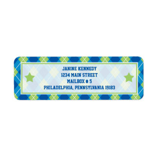Collegiate Style Blue & Green Argyle Return Address Label