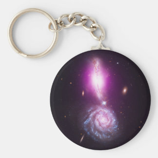 Colliding Galaxies VV 340 and Arp 302 Basic Round Button Key Ring