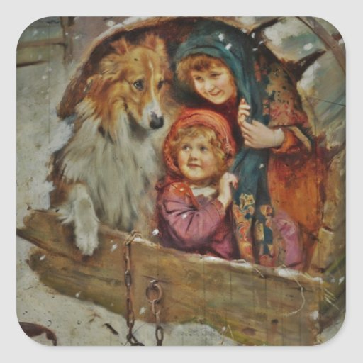 Collie and Children in the Doghouse Stickers