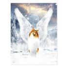 Collie Angel in snowy Winter Landscape Postcard