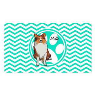 Collie Aqua Green Chevron Business Card Template