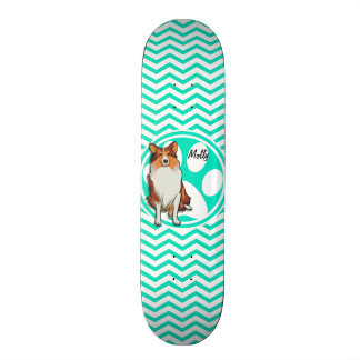 Collie; Aqua Green Chevron Skateboards
