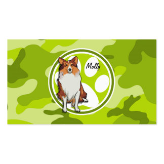 Collie bright green camo camouflage business cards