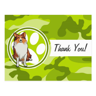 Collie; bright green camo, camouflage postcards