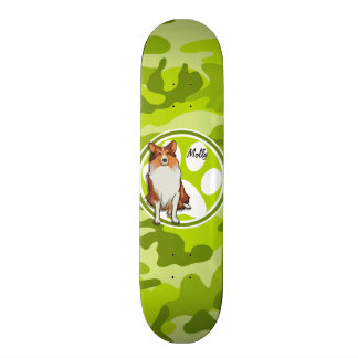 Collie; bright green camo, camouflage custom skate board