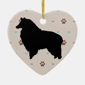 Collie Ceramic Heart Decoration