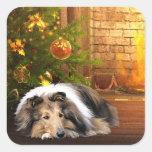 Collie Christmas Square Sticker