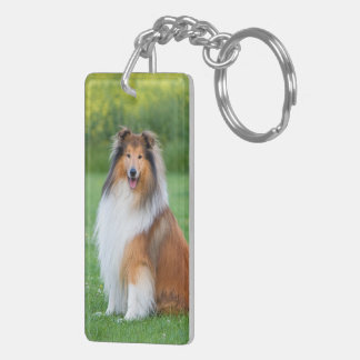Collie dog beautiful rough collie photo keychain