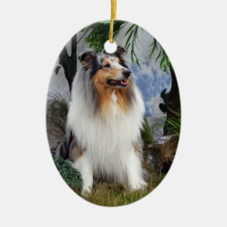 Collie dog blue merle hanging ornament gift idea