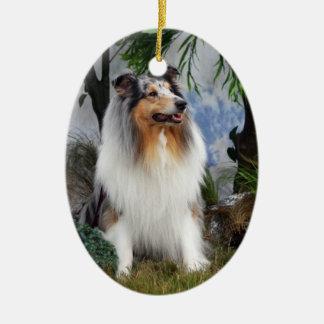 Collie dog blue merle, hanging ornament, gift idea ceramic oval decoration