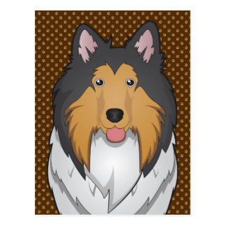Collie Dog Cartoon Paws Postcard