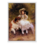 Collie Dog, Girl and Cat Poster Print