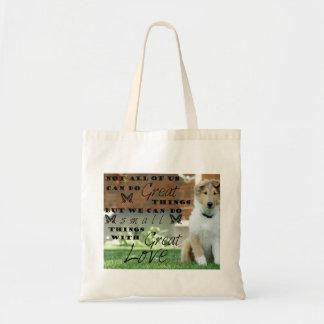 Collie dog puppy tote with quote