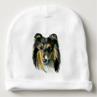 Collie Dog Watercolor Illustration Baby Beanie