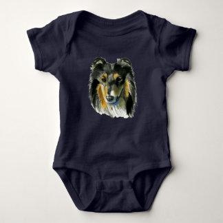 Collie Dog Watercolor Illustration Baby Bodysuit