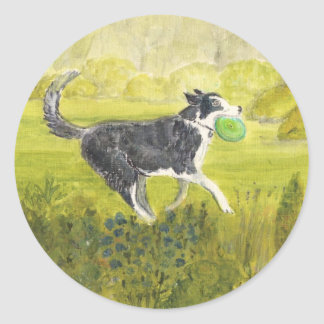 Collie Dog with Frizby Round Sticker