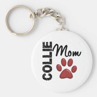 Collie Mom 2 Basic Round Button Key Ring