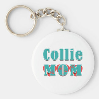 Collie Mom Hearts Keychains