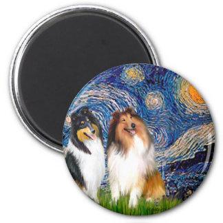 Collie Pair 1 - Starry Night Fridge Magnets