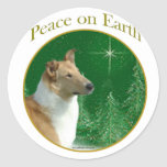 Collie Peace on Earth Round Stickers