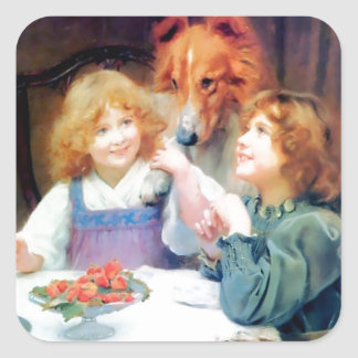 Collie Pet Dog and two girls. Square Sticker