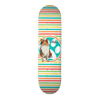Collie;  Rainbow Stripes Custom Skate Board