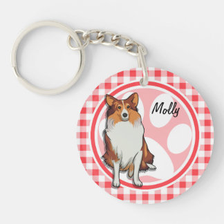 Collie; Red and White Gingham Acrylic Key Chain