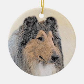 Collie (Rough) Painting - Cute Original Dog Art Christmas Ornament