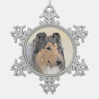 Collie (Rough) Painting - Cute Original Dog Art Snowflake Pewter Christmas Ornament