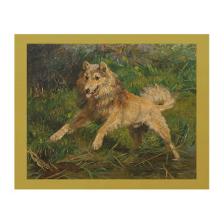 Collie Takes on a Frog by Hermine Biedermann Wood Wall Decor