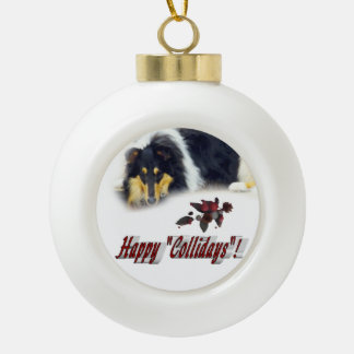 Collie Tri Color Christmas Ceramic Ball Christmas Ornament
