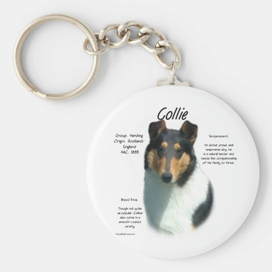 Collie (tri smooth) History Design Basic Round Button Key Ring