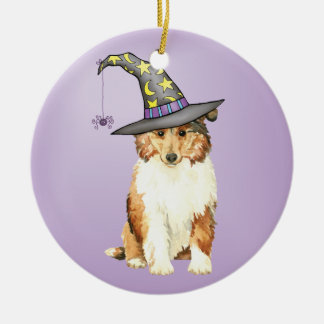 Collie Witch Christmas Ornament
