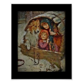 Collie with Children in a Doghouse Poster