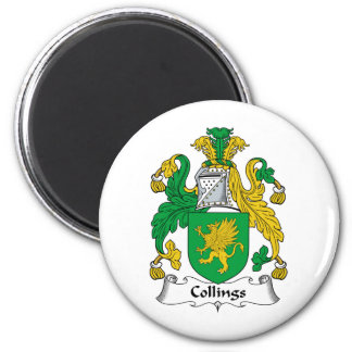 Collings Family Crest 6 Cm Round Magnet