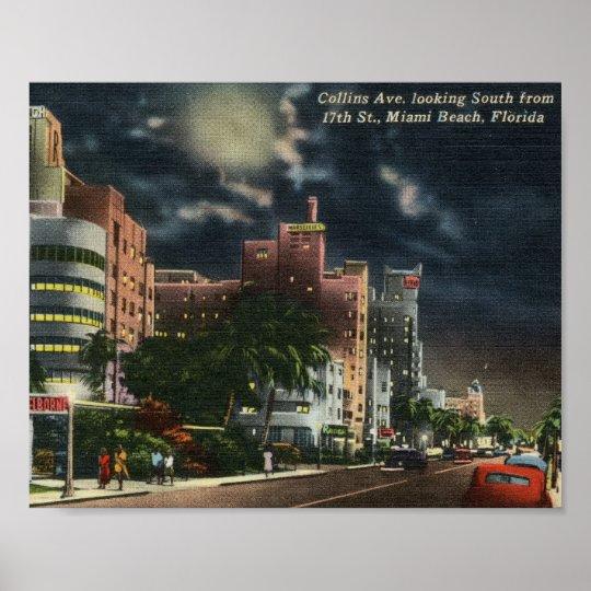 Collins Ave., Miami Beach, Florida Vintage Poster