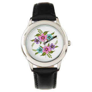 Coloful Flowers Steel Black Leather Strap Watch