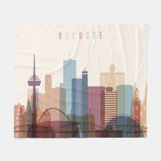 Cologne, Germany | City Skyline Fleece Blanket