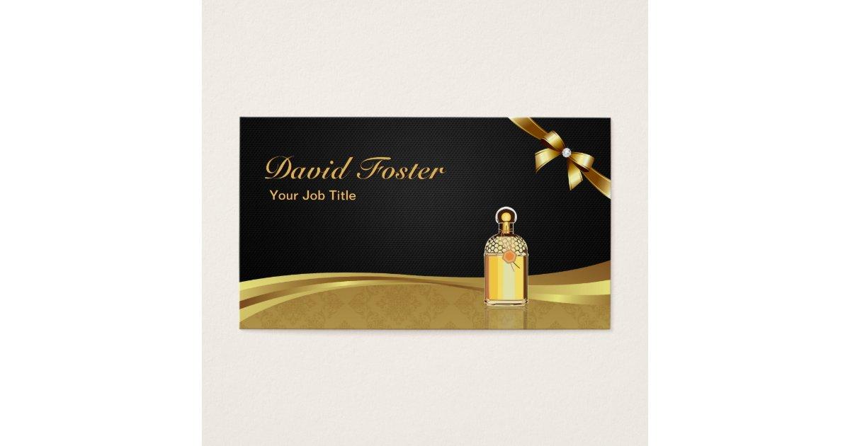 Cologne Perfume Bottle Elegant Black Gold Damask Business Card ...