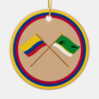 Colombia and Amazonas Crossed Flags Round Ceramic Decoration