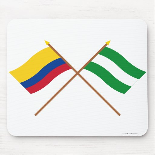 Colombia and Cesar Crossed Flags Mouse Pad